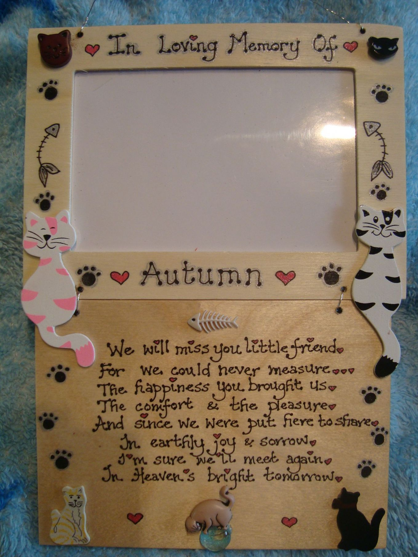 Picture And Frame Of  Personalised Cats